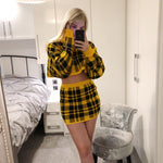 ALICIA Yellow Checked Knit Batwing Co Ord