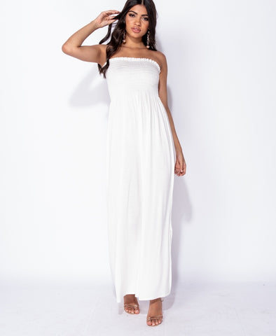 Bandeau Shirring Detail Side Slit Maxi Dress