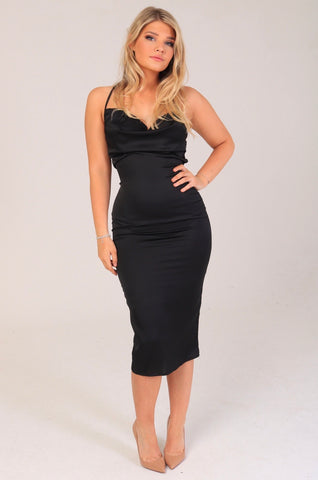 THALIA Satin Midi Dress