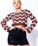 EVA Multi Chevron Stripe Knitted Cropped Jumper