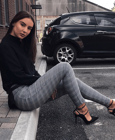 ANNIE Checked Print High Rise Skinny Trousers