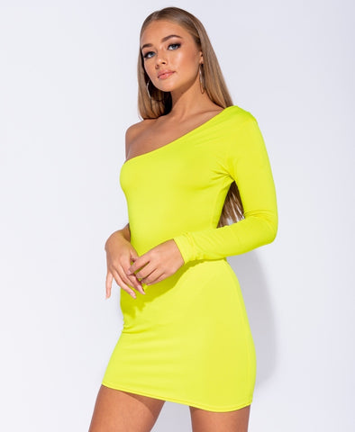 KIM Yellow Long Sleeve Asymmetric One Shoulder Bodycon Dress