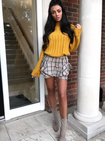 OLIVIA Mustard Turtle Neck Knitted Jumper