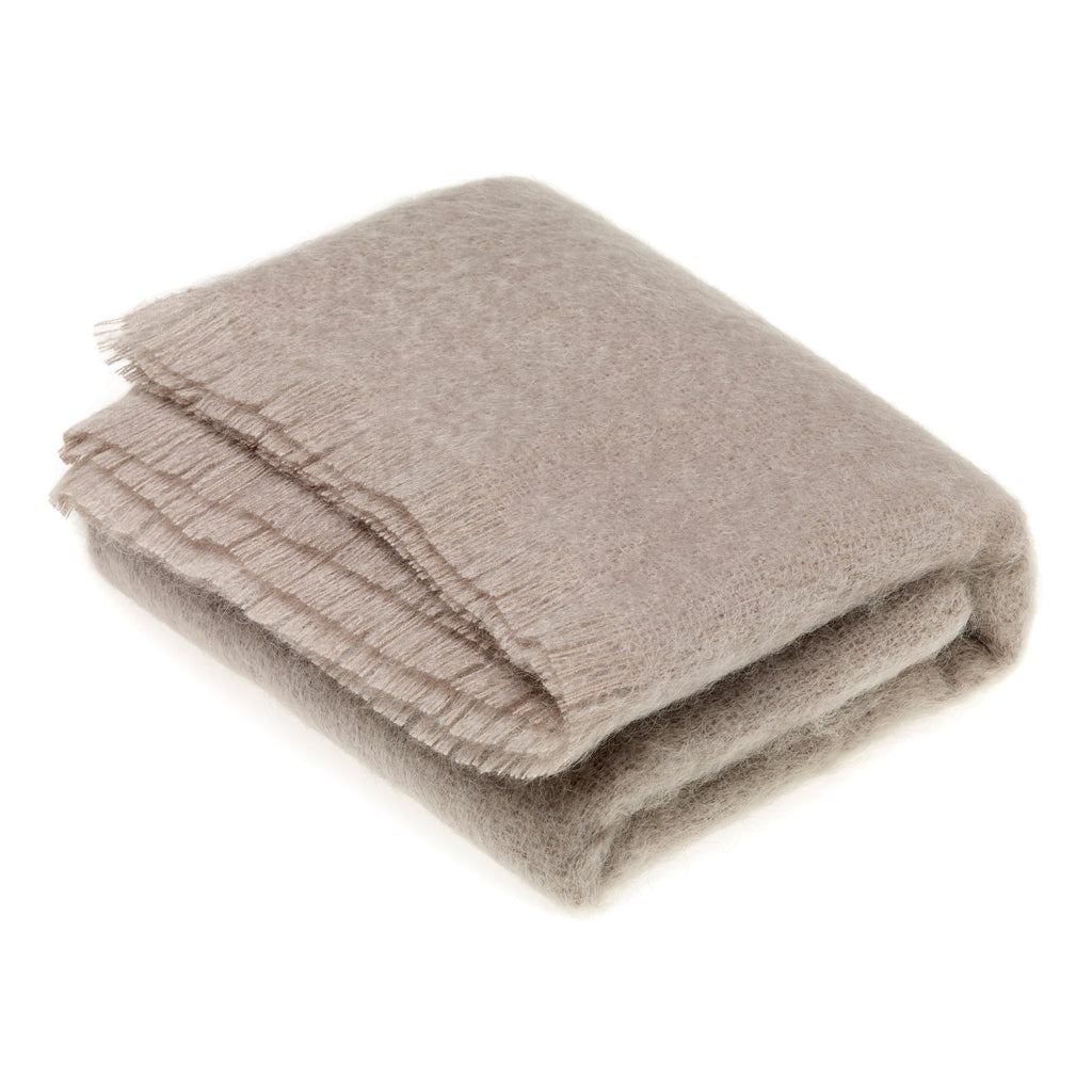 Squirrel Grey Mohair Throw
