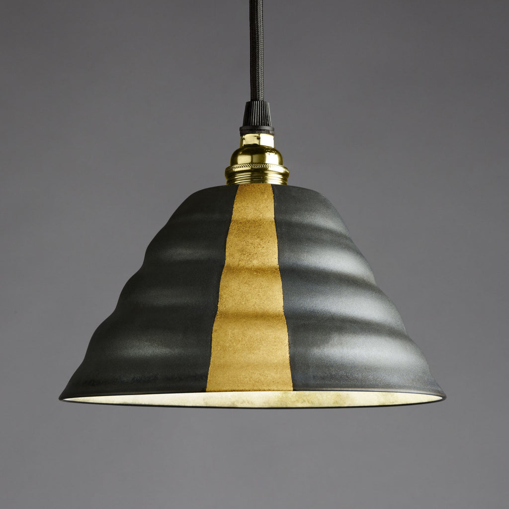 Flared Twist Pendant | Black with Gilding
