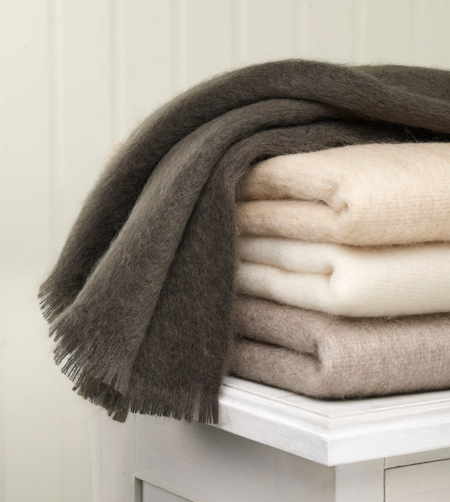 Soft Grey Mohair Throw