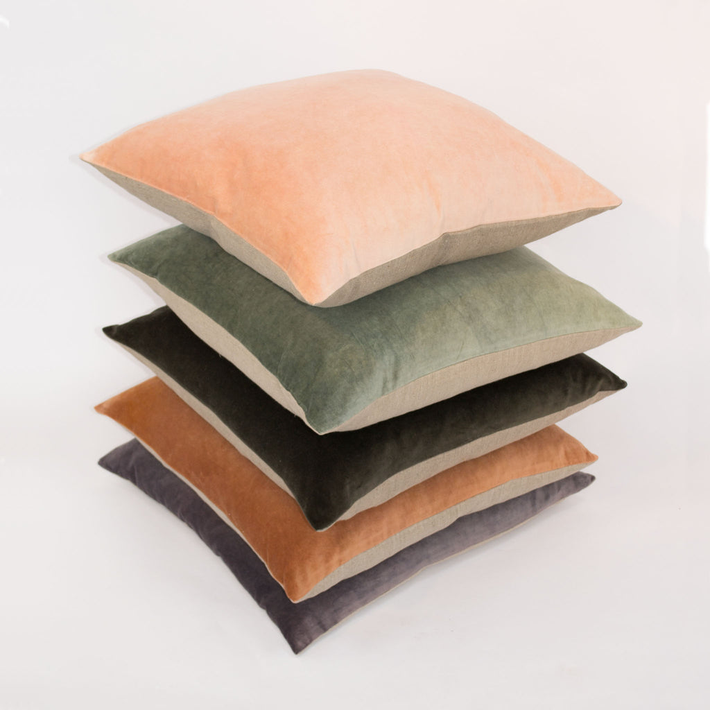 Pale Peach Velvet Cushion