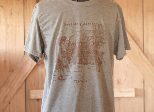 Parade Ground Fort de Chartres Tshirt-Sage green with brown print