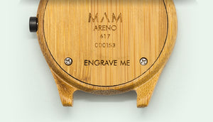 create a completely personalized gift: a MAM watch engraved with a special message.   Consider the words that you would like to say to your loved ones, using a maximum of 12 characters, in capital letters. You can write anything from motivational notes