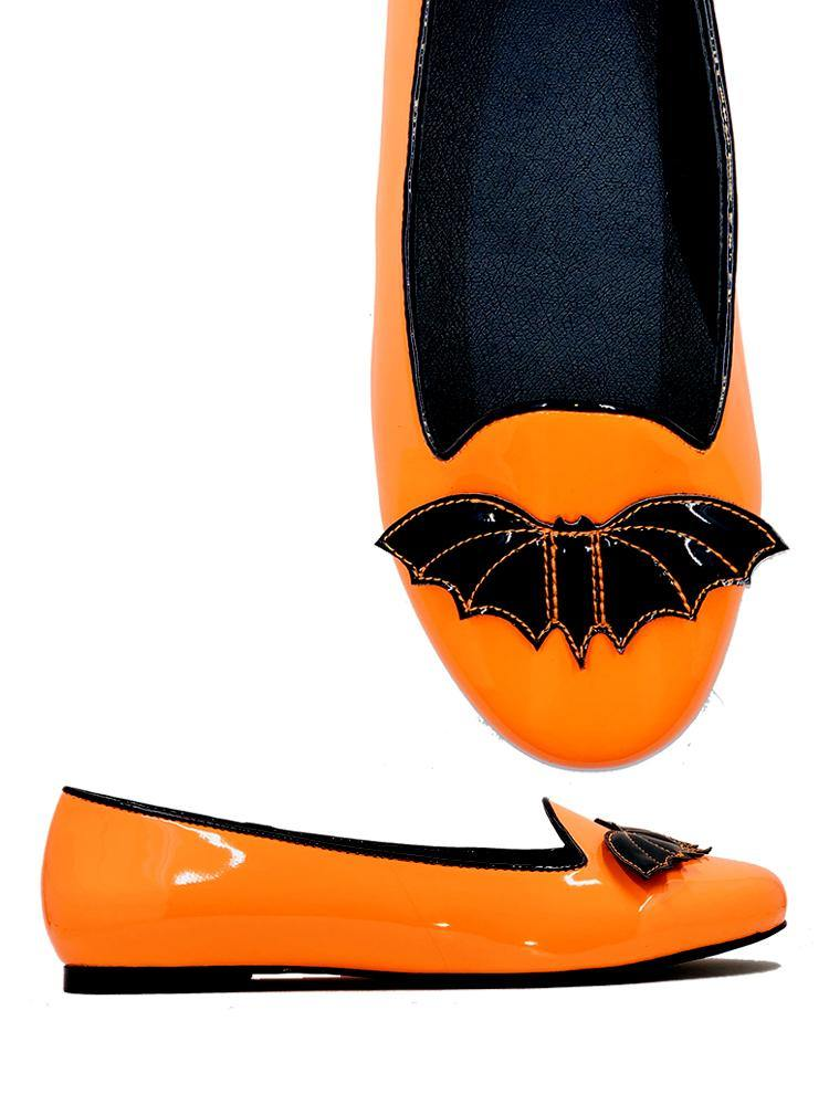 Lydia Bat Flat Orange/Black