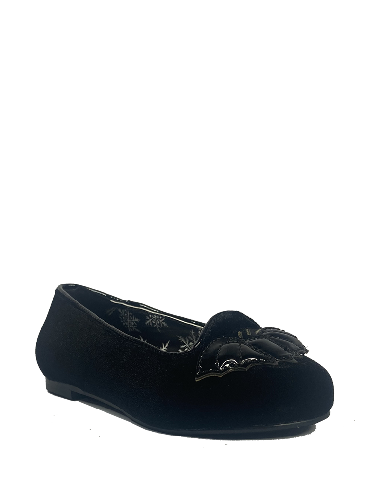 KIDS Lydia Flat Bat Black Velvet