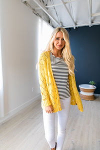Delilah Diamond Knit Cardi In Yellow - ALL SALES FINAL