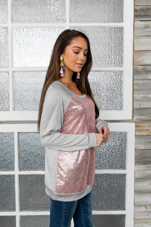 All That Glitters Is Pink Sequined Top