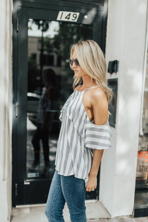Cascade Striped Cold Shoulder Top