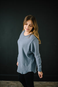 Coffee + Waffle Knit Top in Slate Blue