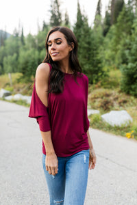 Cold Shoulders Warm Heart Top in Burgundy - ALL SALES FINAL