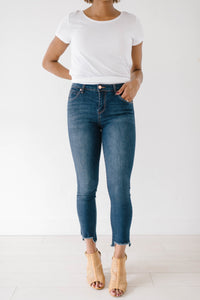 Dark Wash Step Hem Skinnies