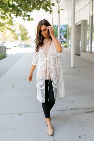 Endless Summer Scalloped Kimono In Ivory - ALL SALES FINAL