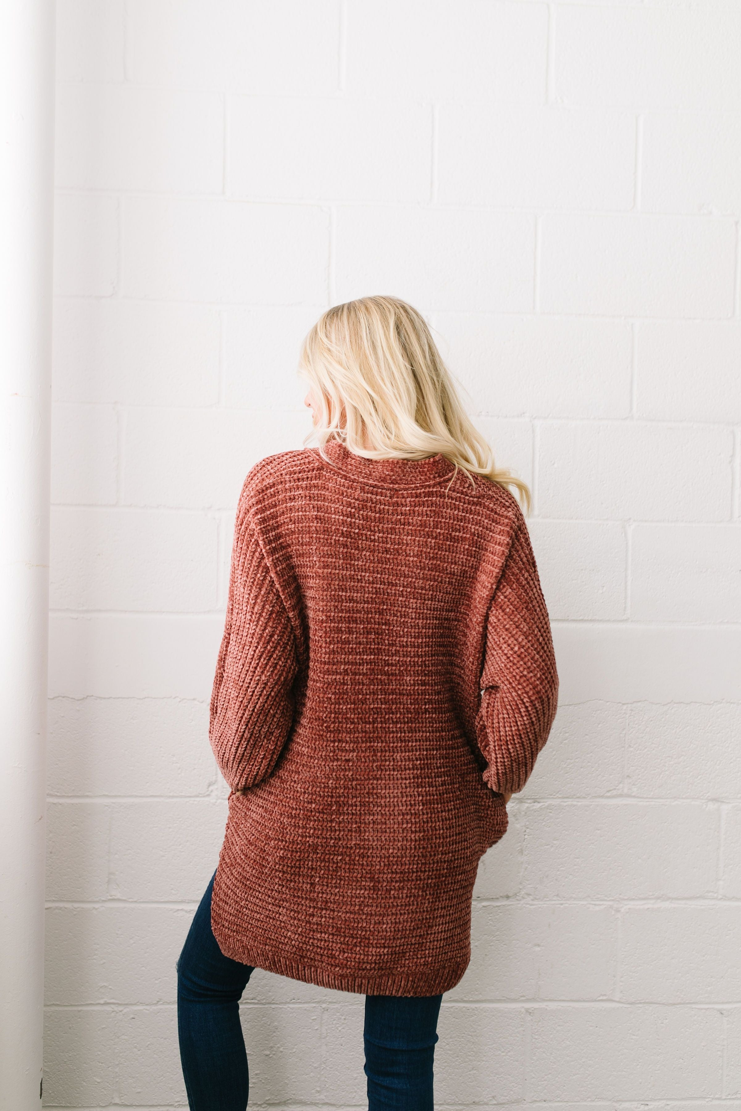 Faded Memories Chenille Cardigan In Rust