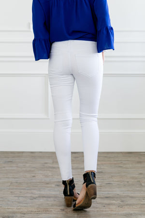 Frayed Hem Cropped Skinny Jeans In White