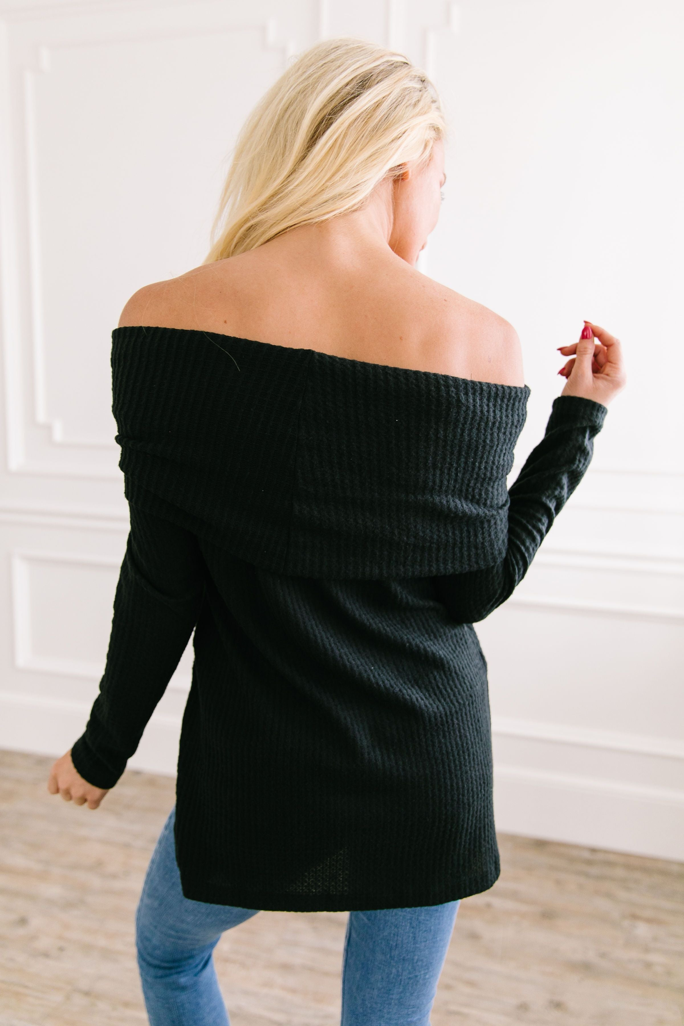 Isn't She Lovely Black Waffle Knit Top
