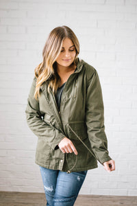 Scouting It Out Fur Lined Jacket in Olive
