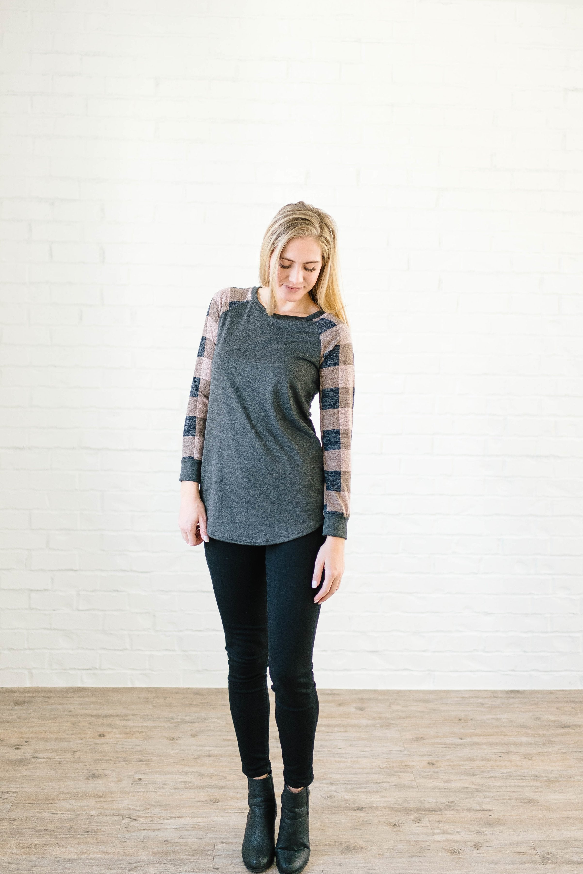 The Cooper Casual Top in Pink & Gray