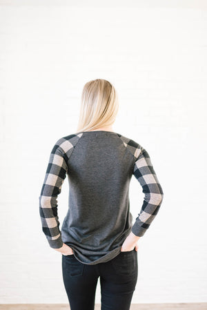 The Cooper Casual Top in Taupe & Gray