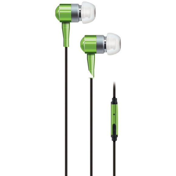 PEBM02 In-Ear Aluminum Stereo Earbuds with Microphone (Green)