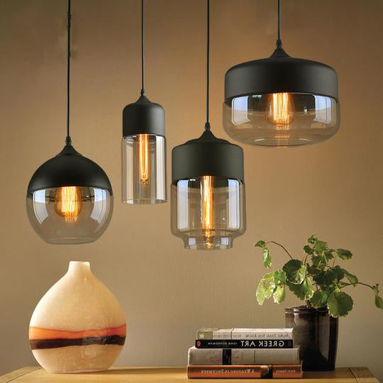 and in pendant light with eglo black image loncino triple smoked glass steel