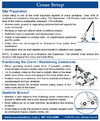 Crane Setup Ready Reference Card