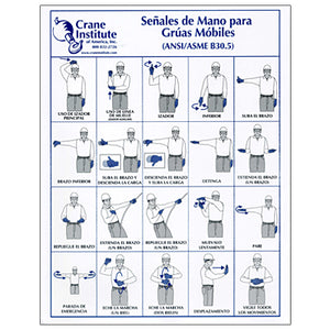 Mobile Crane Hand Signal Chart 8.5x11 in Spanish