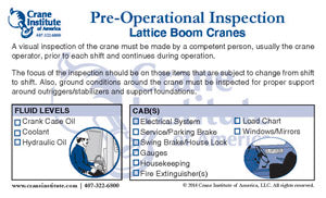 Pre-Op Inspection Lattice Boom Ready Reference Card
