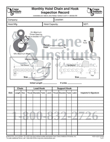Monthly Hoist Chain and Hook Inspection Record