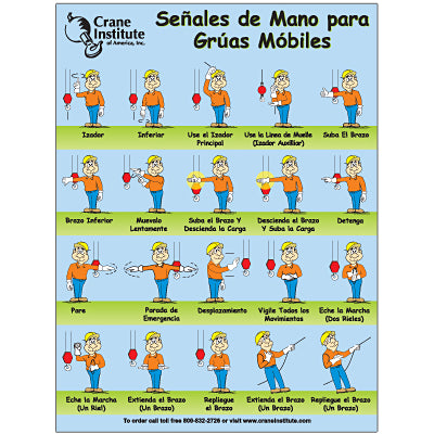 Mobile Crane Hand Signal Poster - Spanish 18x24