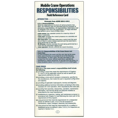 Mobile Crane Responsibilities Card