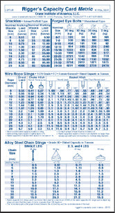 Metric Rigger Capacity Card