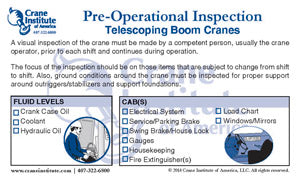 Pre-Op Inspection Telescoping Boom Ready Reference Card