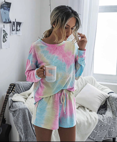 Tie dye two piece lounge set