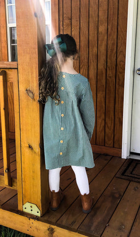 Pine Gingham button back dress