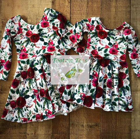 Christmas floral knit dress