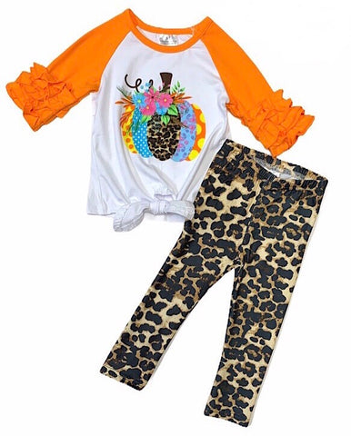 Pumpkin tie shirt with leopard leggings