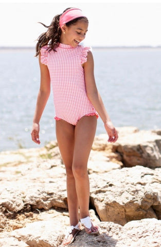Rose Gingham Flutter One Piece