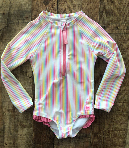 Rainbow stripe long sleeve one piece