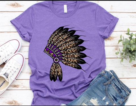 Leopard head dress on heather purple