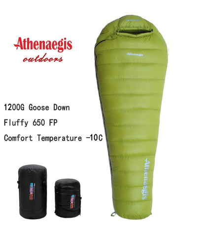 Athenaegis ultralight comfortable waterproof 1200g White Goose Down Sleeping Bag
