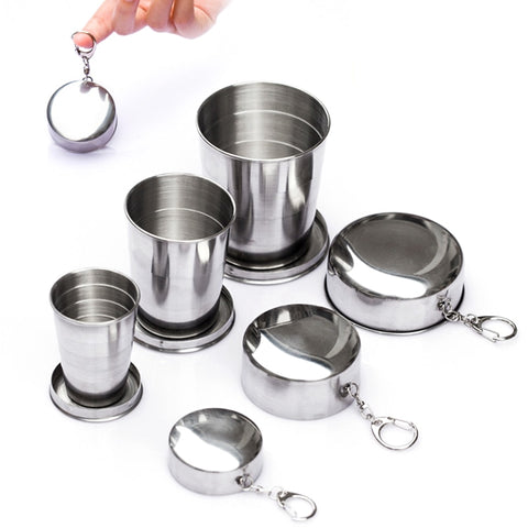 1Pcs Stainless Steel Folding Cup Travel Tool Kit