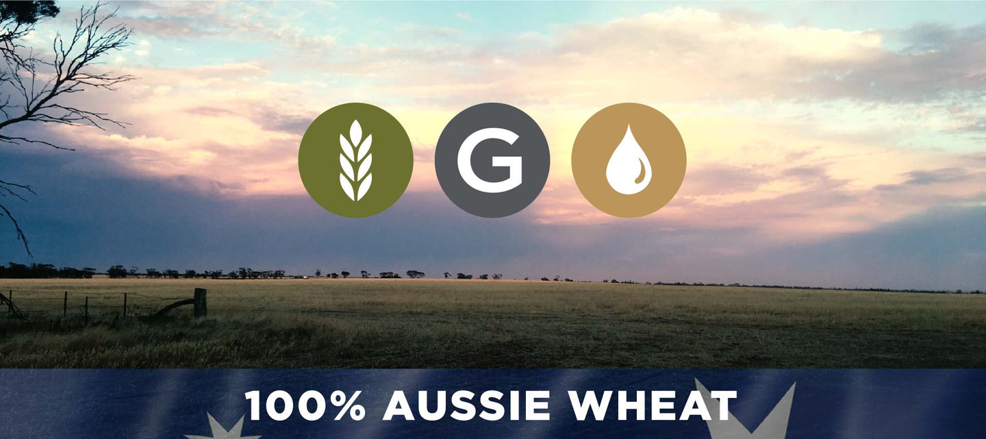 3 grain logos with farm background and 100% Australian wheat
