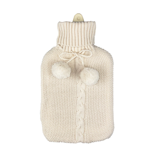 Hot Water Bottle & Cover - Winter White Pom Pom