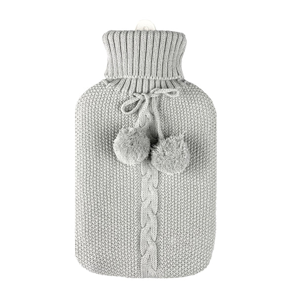 Hot Water Bottle & Cover - Light Grey Pom Pom